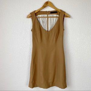 Yigal Azrouel Camel Brown Wool Blend Sheath Dress